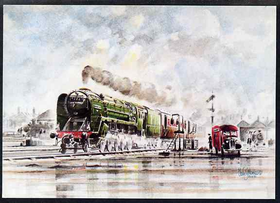 Postcard of Evening Star (Post Office card SWPR 28) used with Last Steam Locomotive Built in Swindon Works cancel