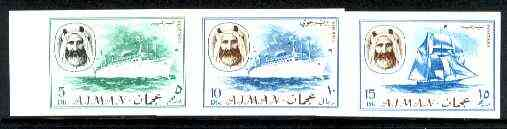 Ajman 1967 Ships (5Dh, 15Dh & 10R from Transport imperf set of 14) unmounted mint Mi 131, 132 & 140