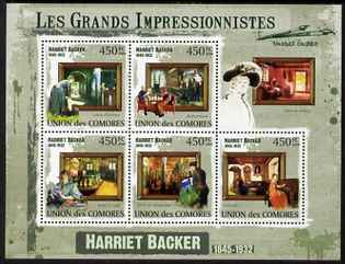 Comoro Islands 2009 Impressionists - Harriet Backer perf sheetlet containing 5 values unmounted mint, stamps on , stamps on  stamps on personalities, stamps on  stamps on arts, stamps on  stamps on impressionists, stamps on  stamps on