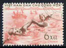 Vietnam - North 1959 Swimming 6x fine cto used from Sports set of 3, SG N114*