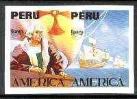 Peru 1992 'America' Columbus the unissued imperf se-tenant pair without value or imprint (c 35,000 ptas = \A3145)