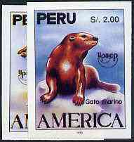 Peru 1993 'America' Fauna the unissued imperf set of 2 (c 6,000 ptas = \A325)