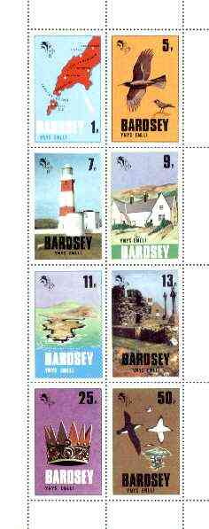 Bardsey (British Local) 1979 def set of 8 values (Map, Birds, Lighthouse, etc) unmounted mint