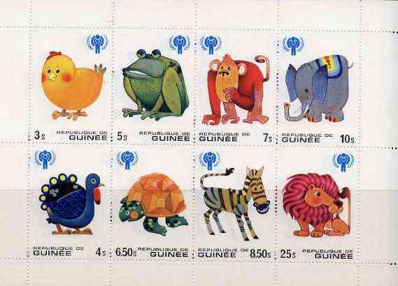 Guinea - Conakry 1979 International Year of The Child (Animals) sheetlet containing set of 8 vals unmounted mint