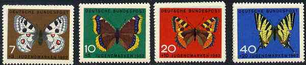 Germany - West 1962 Child Welfare (Butterflies) set of 4, SG 1290-93*