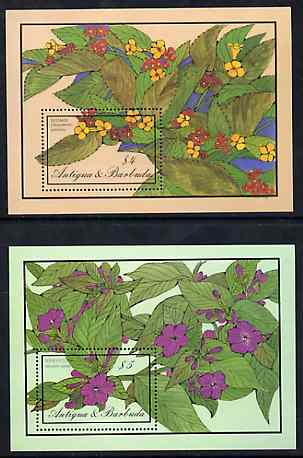 Antigua 1986 Flowers set of 2 m/sheets, SG MS 1036 unmounted mint