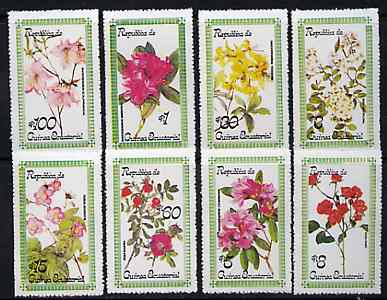 Equatorial Guinea 1979 Roses & Rhododendrons set of 8 unmounted mint, stamps on flowers, stamps on roses