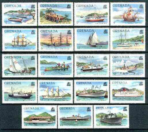 Grenada 1980 Shipping definitive set of 19 values complete (without imprint) unmounted mint SG 1081A-99A*