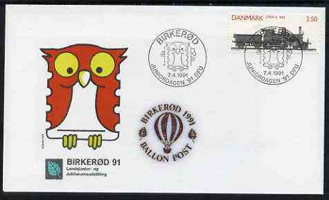 Denmark 1991 'Birkerod 91' Balloon Post souvenir Owl cover with Railway 3.50 stamp with special cancel and cachets