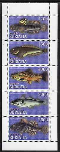 Buriatia Republic 1996 Fish perf set of 5 values unmounted mint