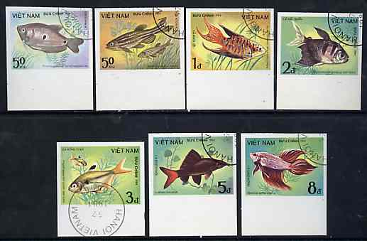 Vietnam 1984 Fishes imperf set of 7 cto used (very scarce with only a limited number issued thus) as SG 700-06*, stamps on fish     marine-life