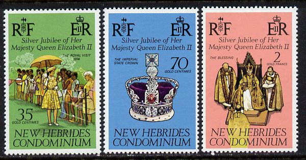 New Hebrides - English 1977 Silver Jubilee set of 3 (SG 217-9) unmounted mint