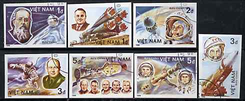 Vietnam 1986 25th Anniversary of First Man in Space imperf set of 7 cto used (very scarce with only a limited number issued thus) as SG 928-34*