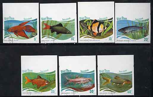 Vietnam 1987 Fishes imperf set of 7 cto used (very scarce with only a limited number issued thus) as SG 1111-17*