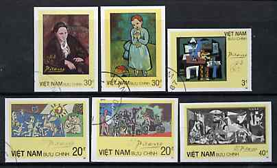 Vietnam 1987 Paintings by Picasso imperf set of 6 cto used (very scarce with only a limited number issued thus) as SG 1124-29*