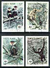 Vietnam 1987 WWF Monkeys imperf set of 4 cto used (imperf mint set cat $120 by Scott, unpriced used) as SG 1120-23*