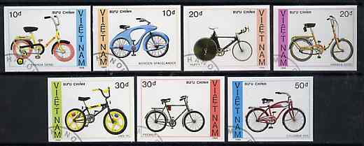 Vietnam 1988 Bicycles imperf set of 7 cto used (very scarce with only a limited number issued thus) as SG 1241-47*