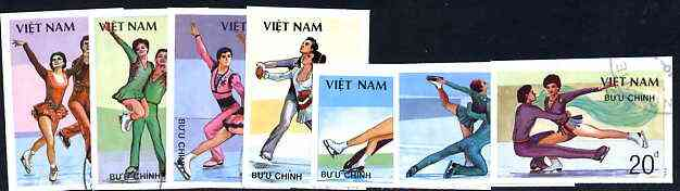 Vietnam 1988 Ice Skating imperf set of 7 cto used (very scarce with only a limited number issued thus) as SG 1233-39*