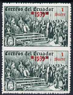 Ecuador 1939 the unissued Columbus 1 sucre value vert pair imperf between, unmounted but slight signs of ageing on gum