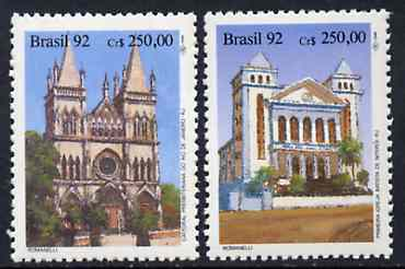 Brazil 1992 Church Anniversaryesaries set of 2, SG 2513-14 unmounted mint*