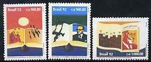 Brazil 1992 Book Day (Writer's Centenaries) set of 3, SG 2558-60 unmounted mint*