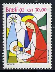 Brazil 1991 Christmas (Stained Glass Window Design) unmounted mint SG 2508*