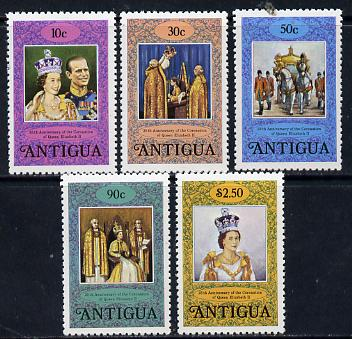 Antigua 1978 Coronation 25th Anniversary perf 12 set of 5 from sheetlets (SG 581-5) unmounted mint