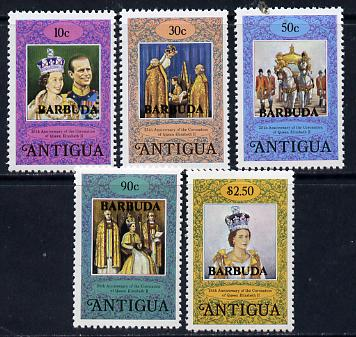 Barbuda 1978 Coronation 25th Anniversary perf 12 set of 5 from sheetlets (SG 415-19) unmounted mint