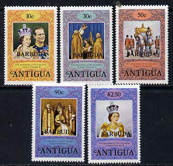Barbuda 1978 Coronation 25th Anniversary perf 14 set of 5 from sheets (SG 415-19) unmounted mint