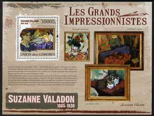 Comoro Islands 2009 Impressionists - Suzanne Valadon perf s/sheet unmounted mint