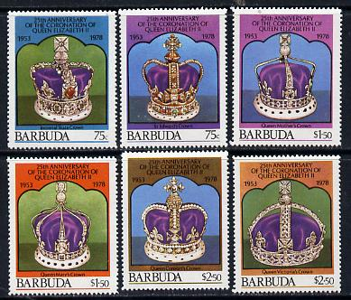 Barbuda 1978 Coronation 25th Anniversary 1st issue (Crowns) set of 6 unmounted mint, SG 408-13
