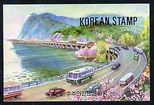 Booklet - North Korea 1995 82nd Birth Anniversary of Kim Sung 50 jons booklet containing pane of 5 x 10 jons (Buses & Traffic on front cover)
