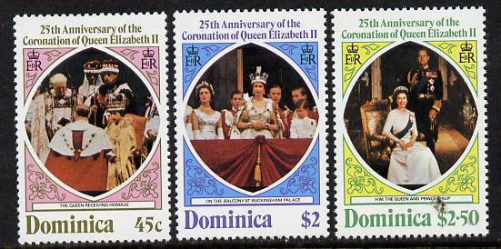 Dominica 1978 Coronation 25th Anniversary perf 14 set of 3 unmounted mint from sheets, SG 612-4