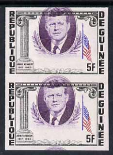 Guinea - Conakry 1964 Kennedy Memorial 5f imperf proof pair with portrait misplaced 5mm unmounted mint, as SG 426