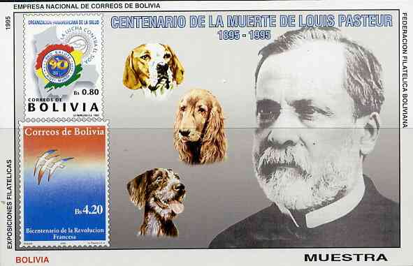 Bolivia 1995 Death Centenary of Louis Pasteur imperf m/sheet opt'd MUESTRA