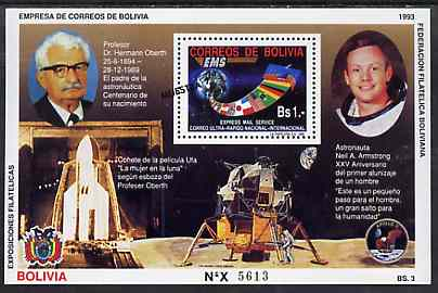 Bolivia 1993 Space Achievements perf m/sheet featuring Mail Service stamp opt'd MUESTRA unmounted mint