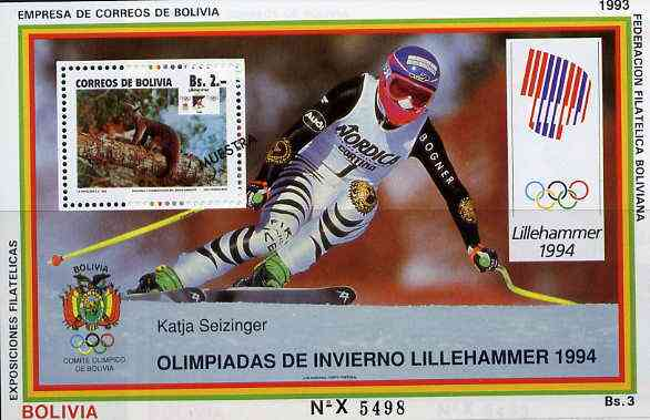 Bolivia 1993 Lillehammer Winter Olympics perf m/sheet featuring Anteater 2b Conservation stamp opt'd MUESTRA unmounted mint