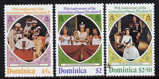 Dominica 1978 Coronation 25th Anniversary perf 12 set of 3 from sheetlets unmounted mint, SG 612-4