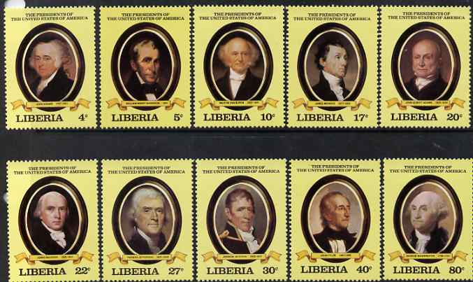 Liberia 1981 USA Presidents - 1st series unmounted mint set of 10, SG 1479-88, stamps on americana, stamps on usa-presidents, stamps on lincoln