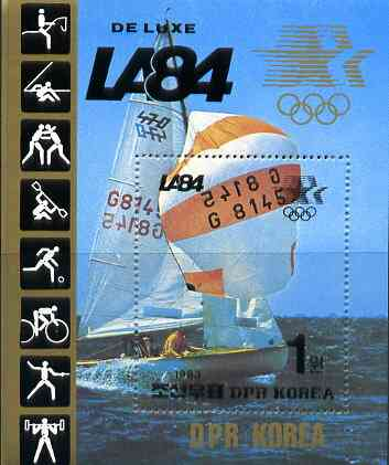 North Korea 1984 Los Angeles Olympics deluxe m/sheet (Sailing) see note after SG 2365