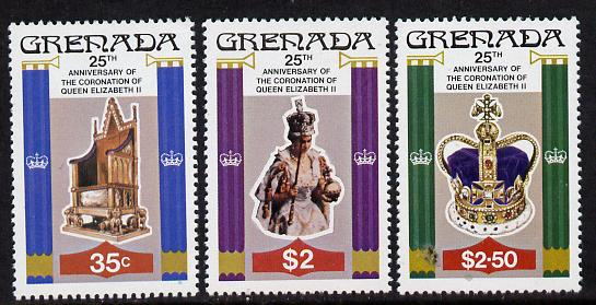 Grenada 1978 Coronation 25th Anniversary perf 14 set of 3 from sheets unmounted mint, SG 946-8