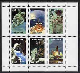 Abkhazia 1997 Space Exploration perf sheetlet containing complete set of 6 unmounted mint