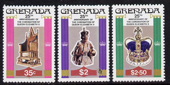 Grenada 1978 Coronation 25th Anniversary perf 12 set of 3 from sheetlets unmounted mint, SG 946-8