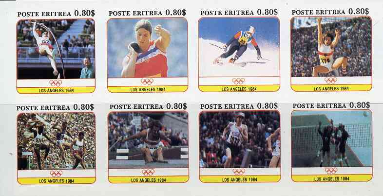 Eritrea 1984 Los Angeles Olympic Games imperf set of 8 unmounted mint