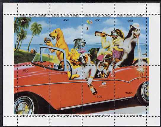 Batum 1996 Dogs Partying in Car composite sheetlet containing 8 values unmounted mint