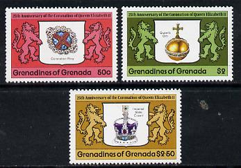 Grenada - Grenadines 1978 Coronation 25th Anniversary perf 14 set of 3 from sheets unmounted mint SG 272-4