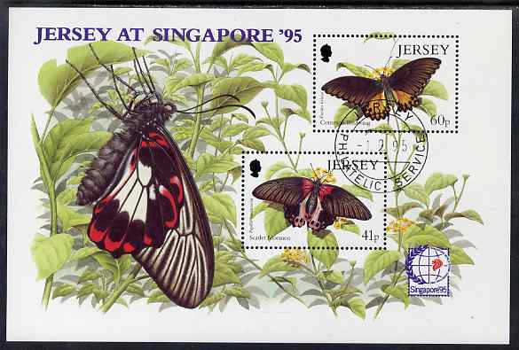 Jersey 1995 Butterflies perf m/sheet with Singapore 95 International Stamp Exhibition logo fine cto used, SG MS722