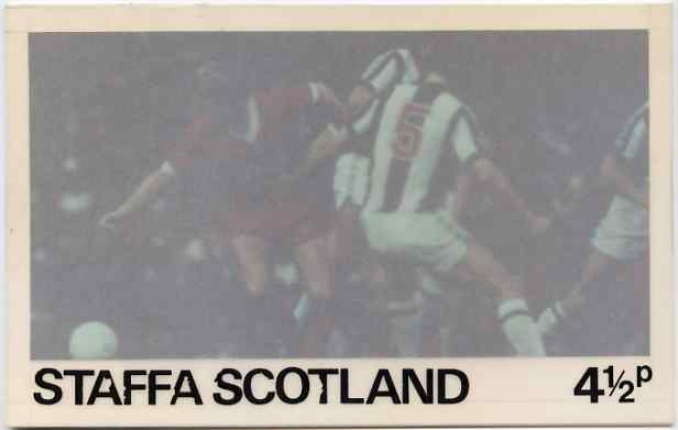 Staffa - Football Original composite artwork for 4.5p value comprising coloured photograph mounted on board 6\DB x 4, inscription & value on tracing paper overlay