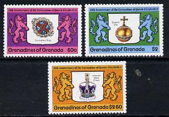 Grenada - Grenadines 1978 Coronation 25th Anniversary perf 12 set of 3 from sheetlets unmounted mint SG 272-4