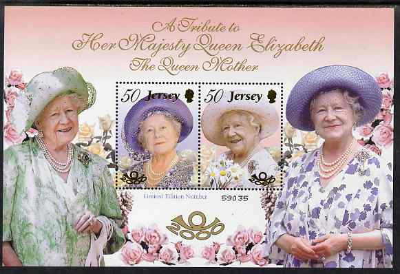 Jersey 2000 Queen Elizabeth the Queen Mother's 100th Birthday perf m/sheet unmounted mint, SG MS961